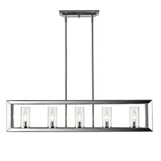 Golden Lighting Smyth Chrome-finish Steel 5-light Linear Pendant Light Fixture With Clear Glass
