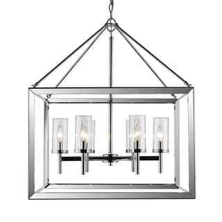 Golden Lighting Smyth Chrome With Clear Glass 6-light Chandelier|https://ak1.ostkcdn.com/images/products/13307294/P20014630.jpg?impolicy=medium