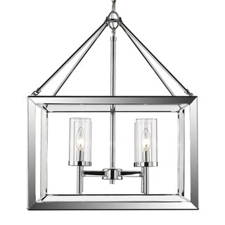 Golden Lighting Smyth Chrome Steel clear Glass 4-light Chandelier