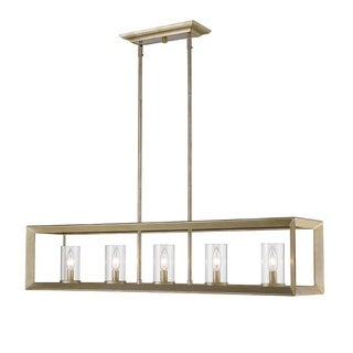 Smyth 5-Light Light Linear Pendant White Gold With Clear Glass