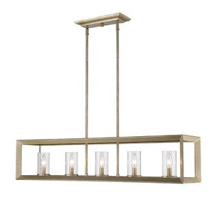 Golden Lighting Smyth White Gold 5 Light Linear Pendant With Clear Glass