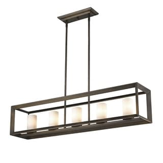Golden Lighting Smyth Gunmetal Bronze With Opal Glass Steel 5-light Linear Pendant