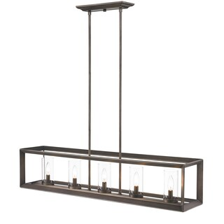 Golden Lighting Smyth GUnmetal Bronze 5 Light Linear Pendant With Clear Glass