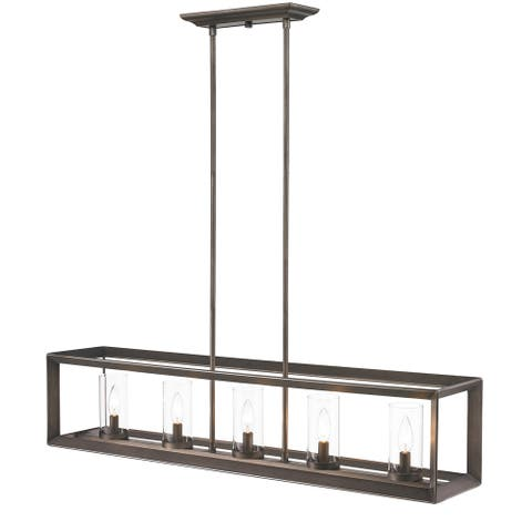 "Smyth Gunmetal Bronze 5 Light Linear Pendant With Clear Glass - 8.5"" L x 41"" W x 8.75"" H"