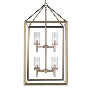 Golden Lighting Smyth White Goldtone Steel/Glass 8-light Pendant Fixture