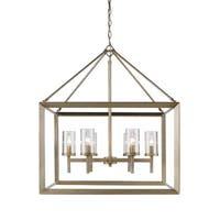 Golden Lighting Smyth Goltone Steel/Glass 6-light Chandelier - Pewter
