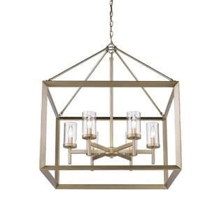 Link to Golden Lighting Smyth Goltone Steel/Glass 6-light Chandelier (As Is Item) Similar Items in As Is