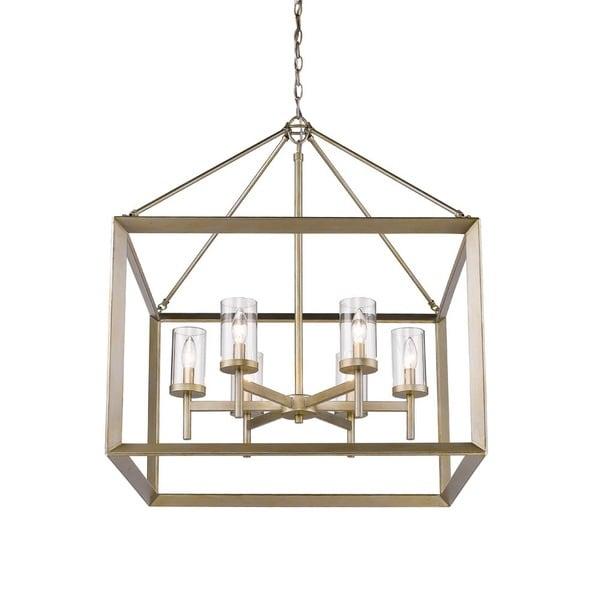 Golden Lighting Smyth Goltone Steel/Glass 6-light Chandelier (As Is Item). Opens flyout.