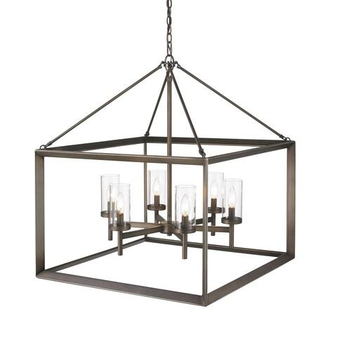 Golden Lighting Smyth Gunmetal Bronze Steel 6-light Chandelier With Clear Glass