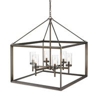 Golden Lighting Smyth Gunmetal Bronze Steel 6-light Chandelier With Clear Glass