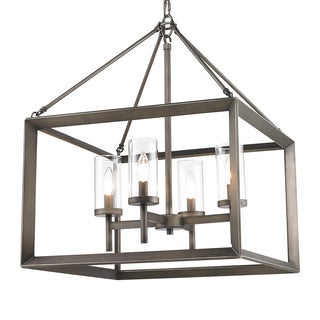 Golden Lighting Smyth Gunmetal Bronze Steel and Clear Glass 4-light Chandelier