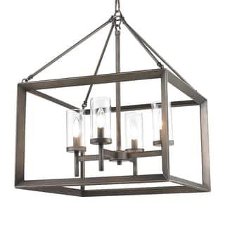 Golden Lighting Smyth Gunmetal Bronze Steel and Clear Glass 4-light Chandelier|https://ak1.ostkcdn.com/images/products/13307327/P20014655.jpg?impolicy=medium