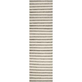 Safavieh Hand-Woven Dhurries Brown/ Ivory Wool Runner (2'6 x 10')