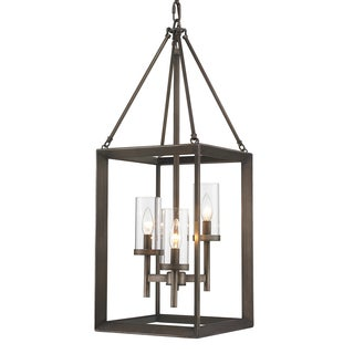 Golden Lighting Smyth Gunmetal Bronze Steel 3-light Pendant With Clear Glass