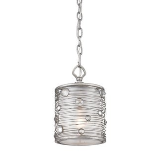 Golden Lighting 'Joia' Peruvian Silver Mini Pendant With Sterling Mist Shade