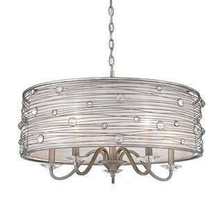 Golden Lighting Joia Peruvian Silvertone Steel 5-light Chandelier