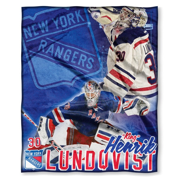 The Northwest Company NHL Rangers Hendrick Lundqvist Multicolor Polyester Silk-touch Throw