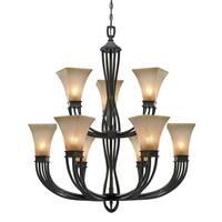 Golden Lighting Genesis Roan Timber Evolution Glass 9-light Chandelier