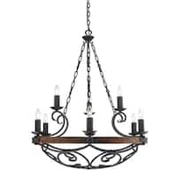 Golden Lighting Madera Black Irom 2 Tier 9 Light Chandelier