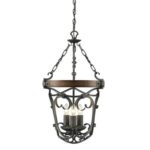 Golden Lighting Madera Black Iron Steel 3-light Pendant