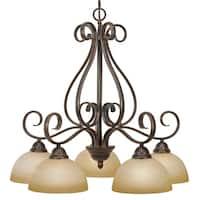 Golden Lighting Riverton Peppercorn With Linen Swirl Glass 5-light Nook Chandelier