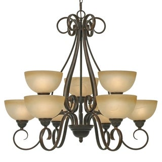 Golden Lighting Riverton Peppercorn Steel and Linen Swirl Glass 2-tier 9-light Chandelier
