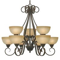 Golden Lighting Riverton Peppercorn Steel and Linen Swirl Glass 2-tier 9-light Chandelier