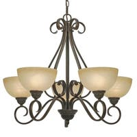 Golden Lighting Riverton Peppercorn Steel and Linen Swirl Glass 5-light Chandelier