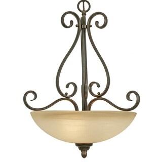 Golden Lighting Riverton Bronze Peppercorn Glass/Steel/Linen 3-light Pendant Fixture