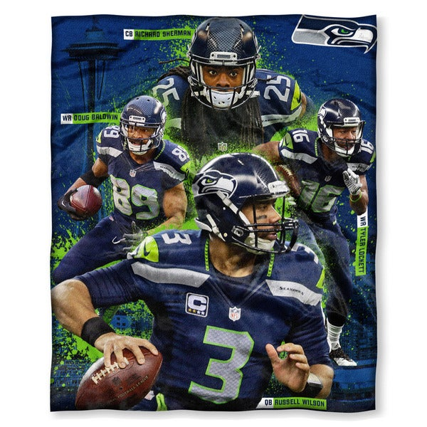 NFL 575 Sherman, Baldwin, Lockett, Wilson Silk Touch Throw
