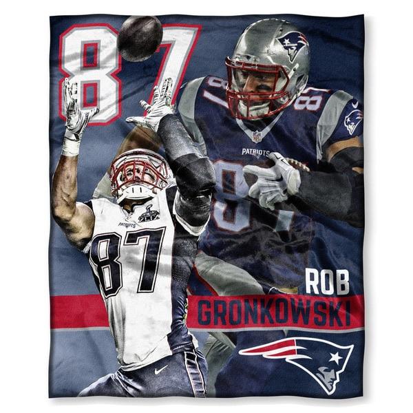 The Northwest Co NFL 575 Patriots Rob Gronkowski Polyester Silk Touch Throw
