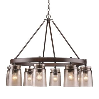 Golden Lighting 'Travers' Rubbed Bronze-finish Steel and Frosted Glass 8-light Chandelier