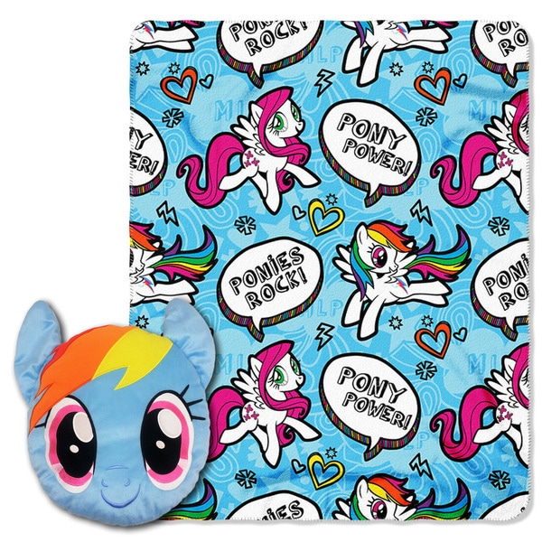 The Northwest Co ENT 154 My Little Pony 'Rainbow Rocks' Multicolor Polyester Pillow and Throw Set