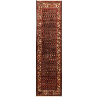 Herat Oriental Persian Hand-knotted Tribal Hamadan Wool Runner (3'6 x 12'10)