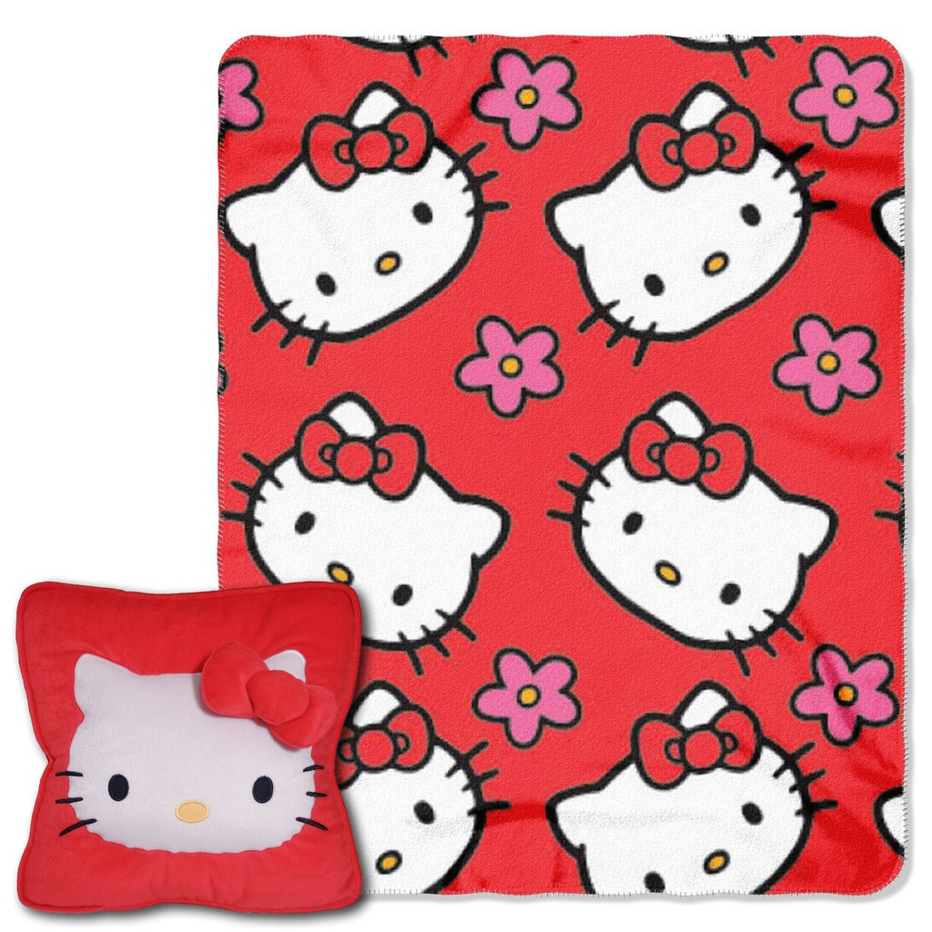 Norwesco Hello Kitty Multicolor Polyester Flower Throw Se...