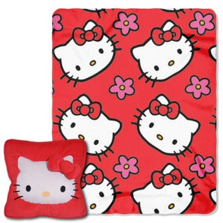 Hello Kitty Multicolor Polyester Flower Throw Set