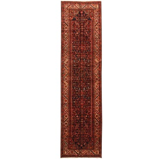 Herat Oriental Persian Hand-knotted Tribal Hamadan Wool Runner (3'3 x 12'7)
