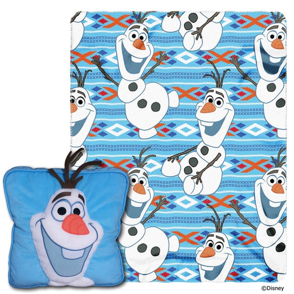The Northwest Company All About Olaf Multicolor Polyester Pillow and Blanket Set