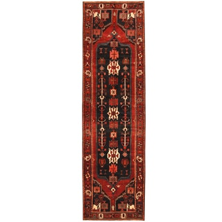 Herat Oriental Persian Hand-knotted Tribal Hamadan Wool Runner (3'7 x 13')