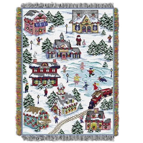 The Northwest Co ENT 051 Snowy Village Multicolor Polyester Tapestry