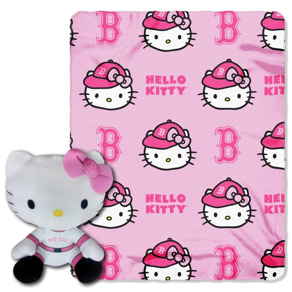 The Northwest Co COK 027 Red Sox Hello Kitty Multicolor Polyester Plush Figure with Throw
