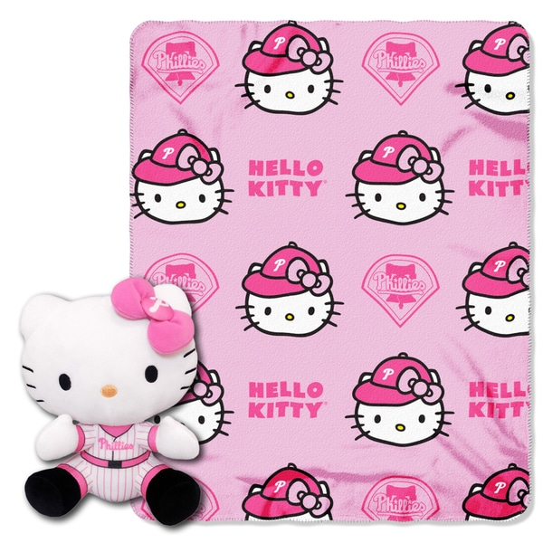The Northwest Co COK 027 Phillies Hello Kitty Multicolor Polyester Plush Figure with Throw