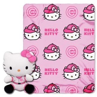 The Northwest Co COK 027 Cubs Hello Kitty Multicolor Polyester Pillow with Throw