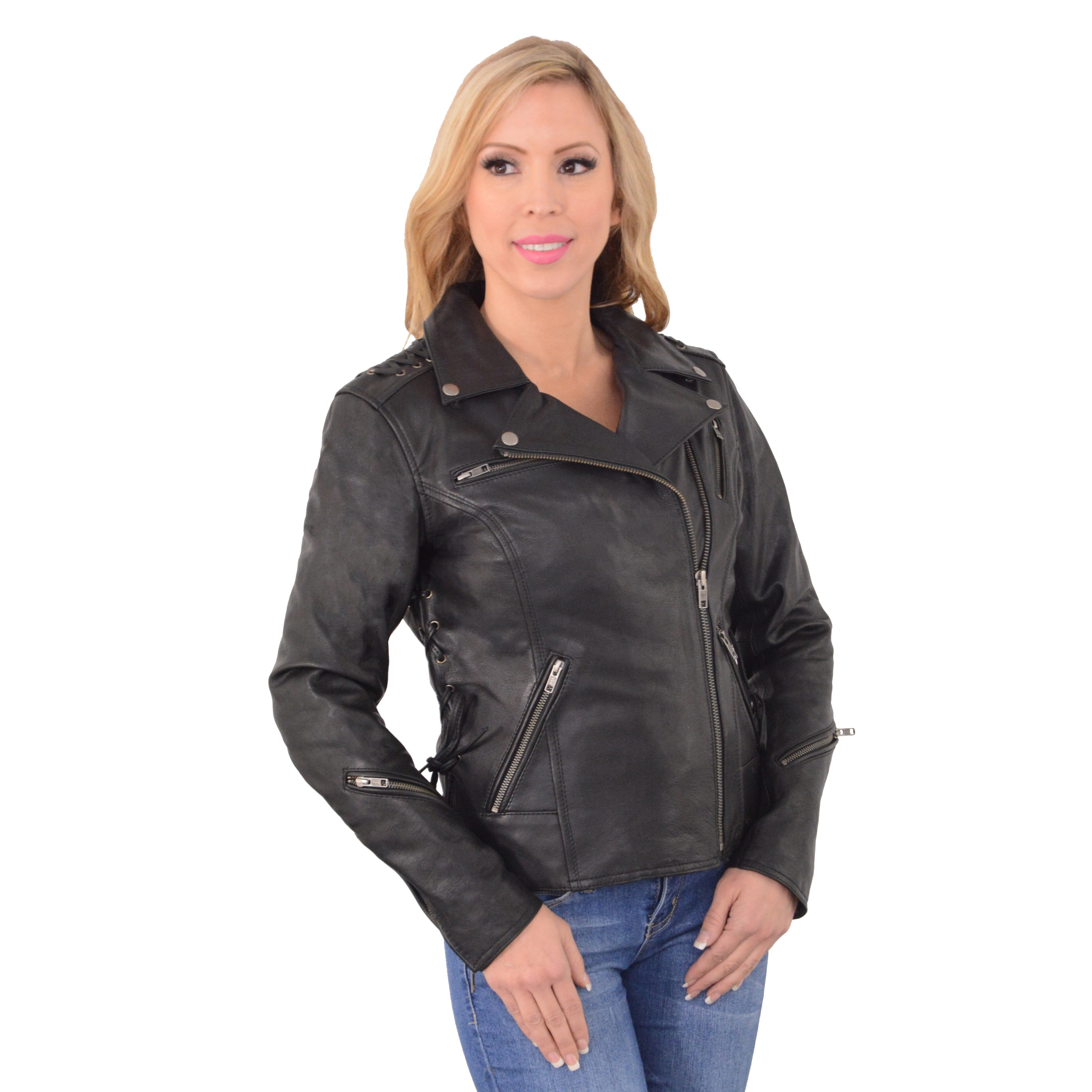 Women's Beaded Lightweight Lace-to-lace Motorcycle Jacket...
