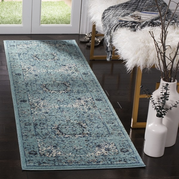 Safavieh Evoke Vintage Oriental Light and Dark Blue Distressed Runner (2' 2 x 13')
