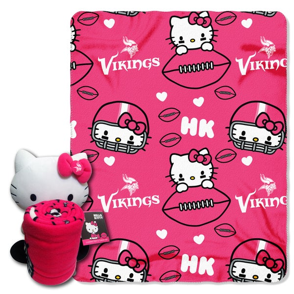 The Northwest Company Vikings Hello Kitty Multicolor Polyester Pillow and Throw Set