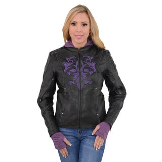 Women's Black/Purple Leather Jacket with Reflective Tribal Detail