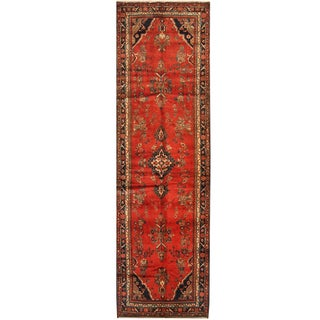 Herat Oriental Persian Hand-knotted Tribal Hamadan Wool Runner (3'8 x 12'2)