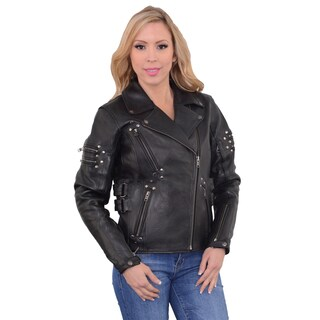 Women's Black Leather and Rivets Fitted Beltless Motorcycle Jacket