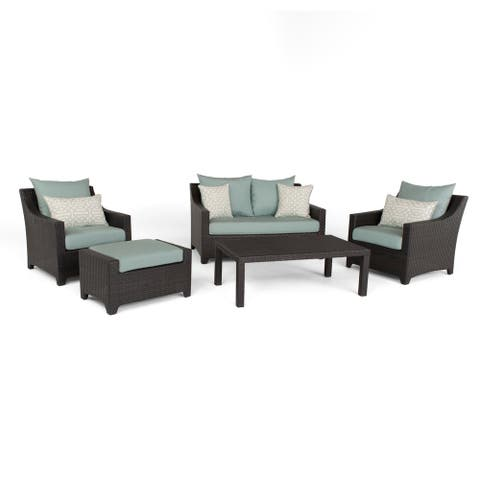 Deco Spa Blue Outdoor Patio 5-Piece Loveseat and Club Chair Set by RST Brands